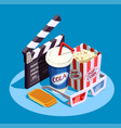 isometric cinema icon set vector image vector image