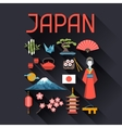 Japan icons and symbols set vector image vector image