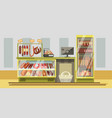 meat department in supermarket with counter and vector image vector image