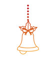 merry christmas bell decorative with bow hanging vector image vector image