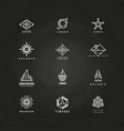 minimal geometric logo set on blackboard vector image vector image