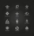 minimal geometric logo set on blackboard vector image