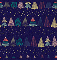 modern abstract doodle christmas trees in a row vector image