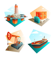 Petroleum Oil Industry 4 Isometric Icons vector image vector image