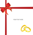 rings gold card with bow vector image vector image