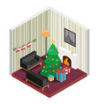 room isometric with christmas treefireplace vector image vector image