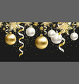 seamless pattern black christmas decor for site vector image