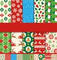 Set of 10 Seamless Bright Christmas Patterns vector image