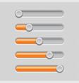 Slider bars gray orange volume level console
