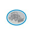 Snow Plow Truck Oval Retro vector image vector image