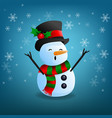 snowman funny on snowflake and blue background vector image vector image