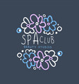 spa club beauty studio logo badge with flowers vector image vector image