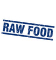 square grunge blue raw food stamp vector image vector image