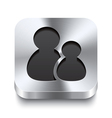 Square metal button perspektive - users icon vector image