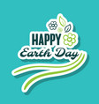 sticker happy earth day flowers vector image