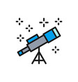 telescope flat color line icon isolated on vector image