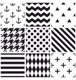 tile black and white pattern set with polka dots vector image vector image