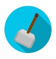 Viking battle hammer icon in flat style isolated vector image vector image