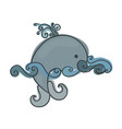 whale drawing for children whale vector image vector image