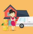 woman moving to house vector image vector image