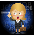 woman searching for job by pointing search bar vector image
