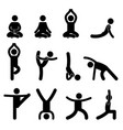 yoga meditation exercise stretching pictograph vector image vector image