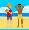 young men posing with soccer ball on summer beach vector image