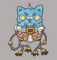 angry cat on a mechanical robot cartoon vector image