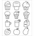 hand drawn sweets and dessert set ice cream vector image