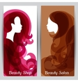 Woman silhouette with curly hair on banners for vector image