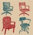 Seats set in retro stile vector image