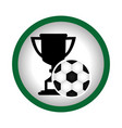 circular frame with trophy with soccer ball vector image