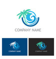 beach palm tree ocean logo vector image vector image