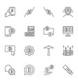 blockchain concept line icons set on white vector image