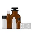 bottle pack template mockup blank pharmaceutical vector image vector image