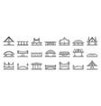 bridges icons set outline style vector image