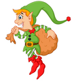 Cartoon cute elf boy with sack vector image