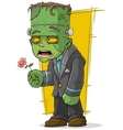 Cartoon green zombie monster with flower vector image vector image