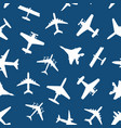 Cartoon silhouette airplane seamless pattern