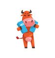 cheerful brown cow with cartons of milk farm vector image vector image