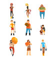 cheerful farmers set gardeners characters at work vector image