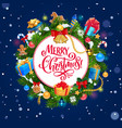 christmas tree wreath xmas gifts ball and bell vector image vector image