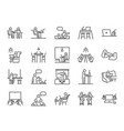 co-working space line icon set vector image