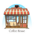 coffee or tea house building cafeteria cafe vector image