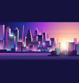 cyberpunk city neon glow lighting urban landscape vector image vector image