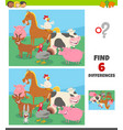 differences game with farm animal characters group vector image vector image