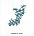 Doodle sketch of Republic of Congo map vector image vector image