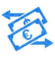 euro currency exchange grunge icon vector image vector image