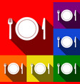 fork plate and knife set of icons with vector image