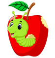 funny caterpillars on a apple vector image vector image
